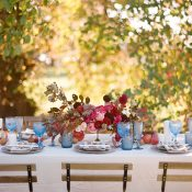 Rustic Fall Wedding Table with Jewel Tone Flowers