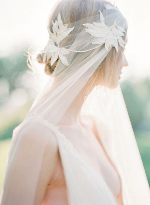 Gold Leaf Headpiece for a Luminous Fall Bride