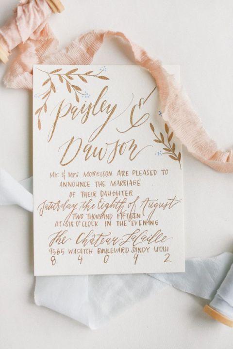 Copper and Peach Hand Lettered Invitation
