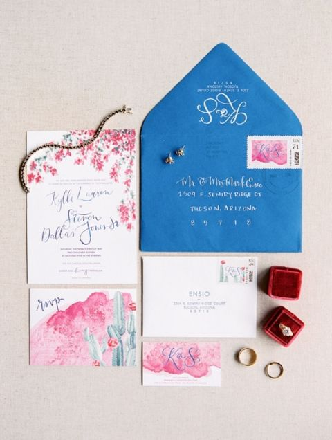 Vibrant Pink and Blue Invitation Suite