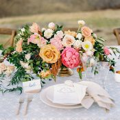 Blue and Coral Tablescape for a Glam Ranch Wedding
