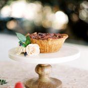 Mini Pecan Pie on a Rustic Cake Stand