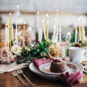 Organic Winter Flowers and Candle Decor
