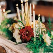 Organic Silk Runner with Taper Candles and Jewel Toned Flowers
