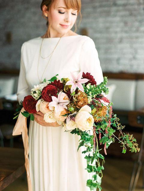 Jewel Toned Winter Cascade Bouquet