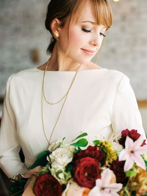 Clean and Classic Boatneck Wedding Dress