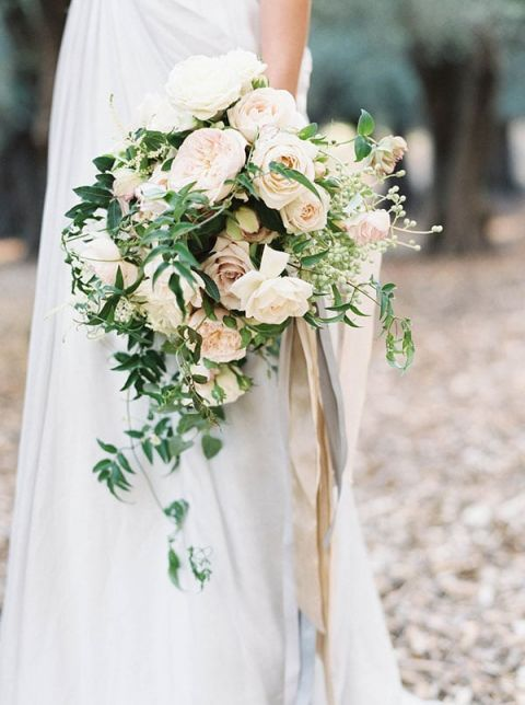 Organic Greenery and Ivory Floral Bouquet