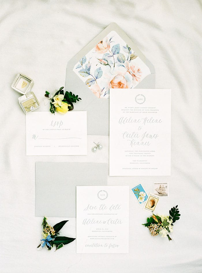 Elegant Gray Lettered Invitations with Pastel Floral Print