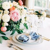 Pale Pink and Blue Wedding Flowers with Vintage Gold Decor