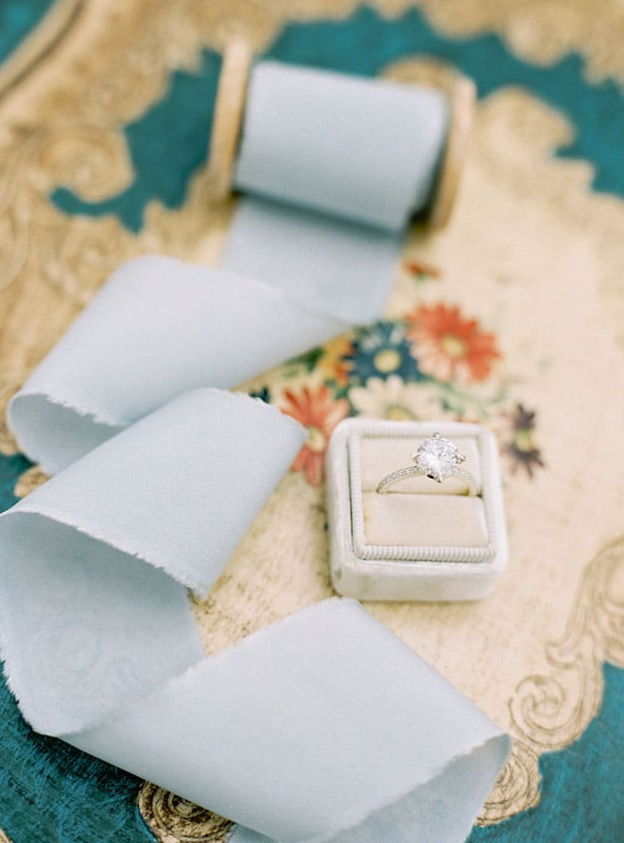 Classic Glam Engagement Ring with Silk Ribbon