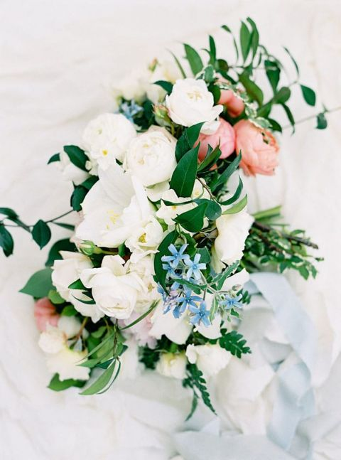 White and Coral Spring Bouquet with Hints of Blue