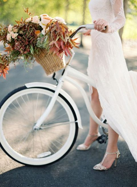 Classic Fall Bride with a Foliage Bouquet