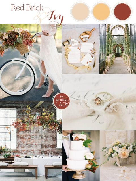 Chic Fall Wedding Colors in Red Brick and Ivy