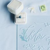 Vintage Engagement Ring with Modern Wedding Invitations