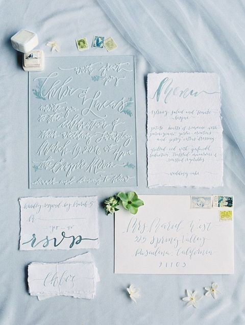 Acrylic and Calligraphy Wedding Invitations