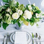 Moonstone Inspired Place Setting with Fresh Greenery