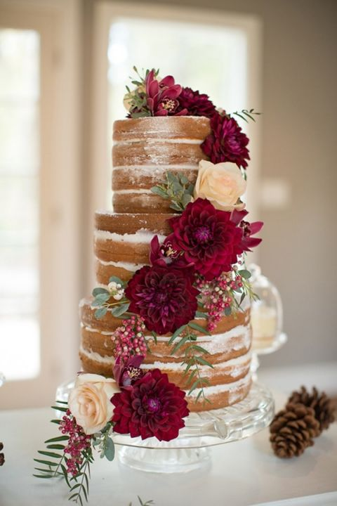 Marsala And Ivory Fall Floral Cake