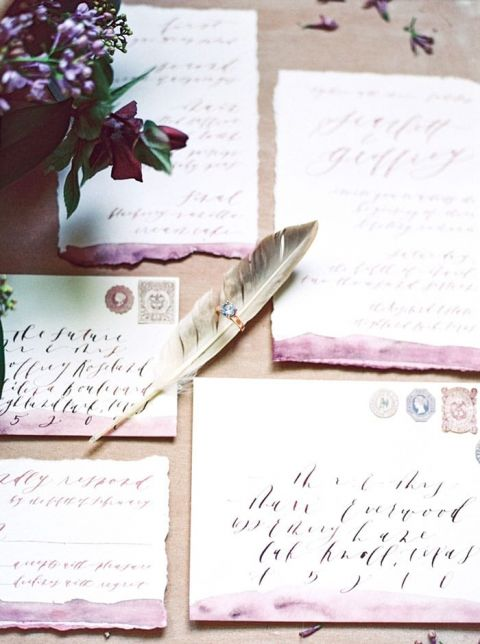 Watercolor and Calligraphy Wedding Invitation Suite with Feather Details