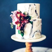 Marbled Wedding Cake with Bright Spring Flowers