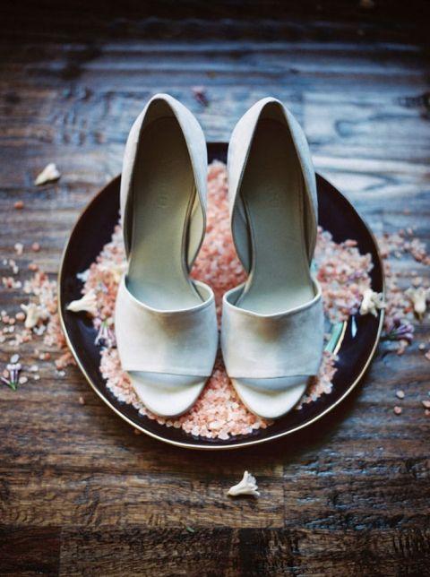 Suede Peep Toe Bridal Heels