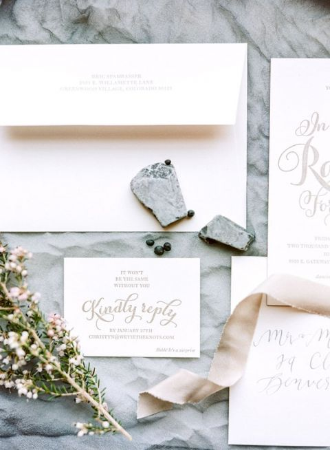 Slate and Ribbon Invitation Styling