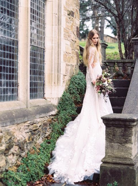Dramatic Lace Wedding Dress at a Classic Manor