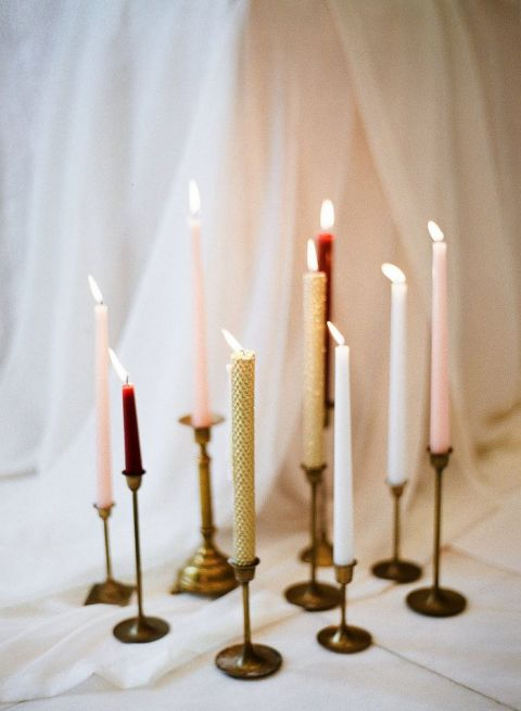 Burgundy, Blush, and Gold Taper Candles