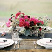 Fuchsia and Blackberry Floral Decor