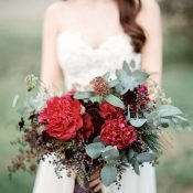 Crimson Peony and Berry Bouquet