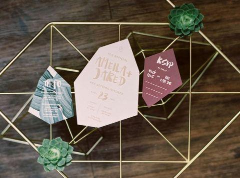 Gemstone Geometric Wedding Invitations in Deep Jewel Tones