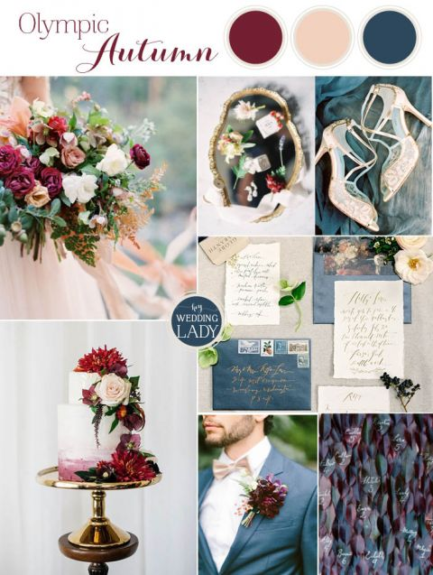 Pacific Northwest Fall Wedding Inspiration in Slate Blue and Berry