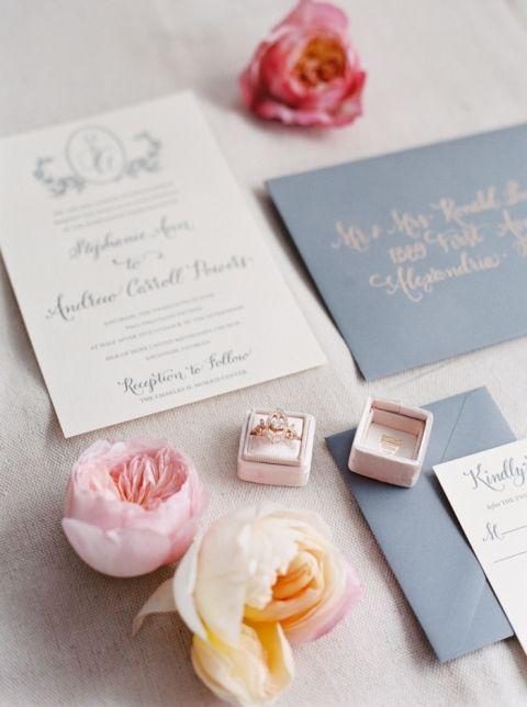 Blush and Gray Wedding Invitations