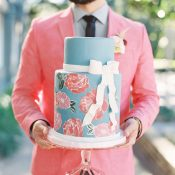 Pink and Blue Floral Print Cake