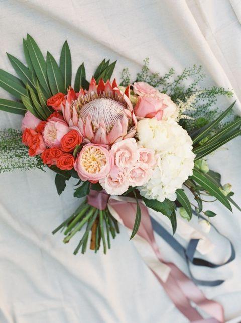 Coral and Blush Protea Bouquet