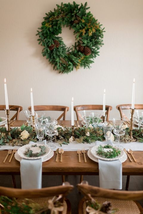 Rustic Green and White Holiday Table