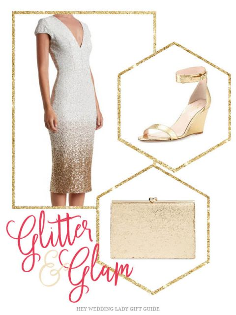 Gold Glitter and Glam for the Rehearsal Dinner
