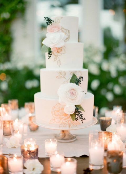 Rose Gold Wedding Cake With Fresh And Painted Flowers