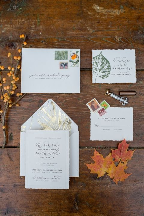 Gold Leaf Pattern Invitations with Hand Lettering