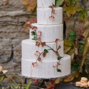 Copper and Marble Off Set Wedding Cake