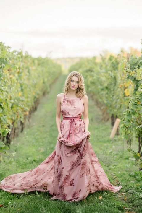 Floral Print Wedding Dresses 36 Vintage Winery Wedding Shoot with