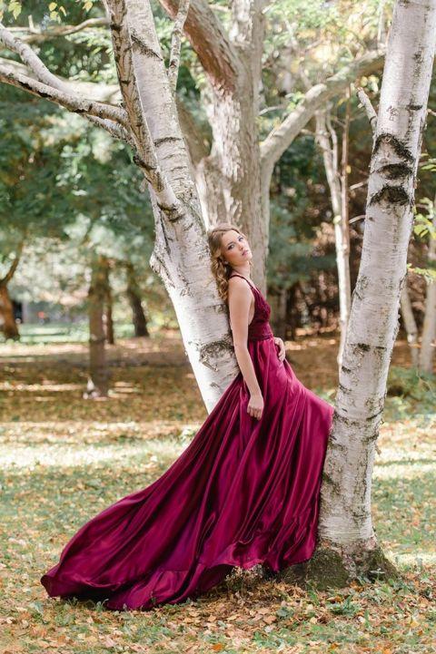 Garnet Silk Wedding Dress
