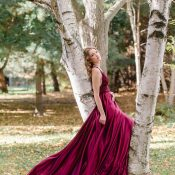 Garnet Silk Wedding Dress