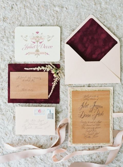 Blush and Burgundy Velvet Wedding Invitations