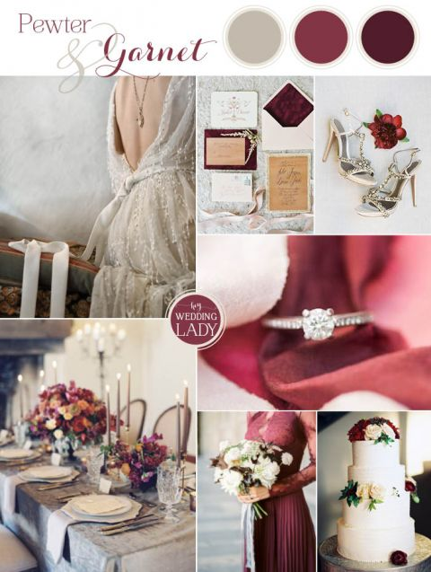 Pewter and Garnet for a Chic Winter Wedding Palette