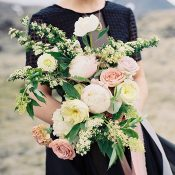 Blush and Ivory Bouquet with a Black Wedding Dress
