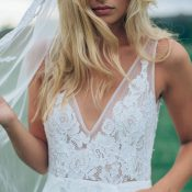 Sheer Lace V Neck Dress with a Veil