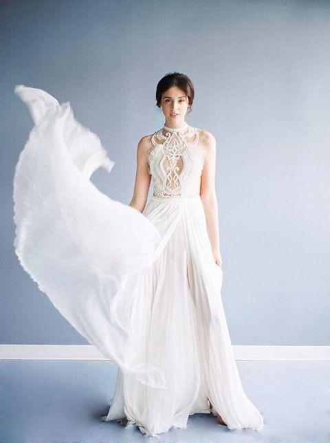 Nude Wedding Dresses 20 Vintage Pleated Chiffon Dress with