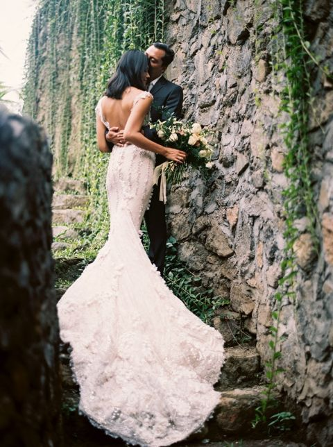 Ruffled Lace Dress with a Low Back for a Destination Wedding