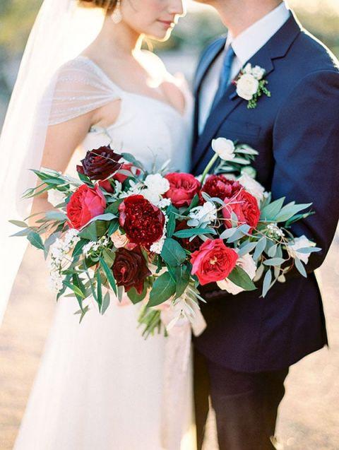 Crimson Charm Peony Bouquet for a Summer Wedding