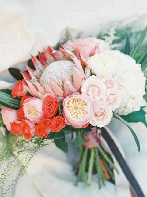 Coral Ombre Wedding Flowers With Protea And Roses